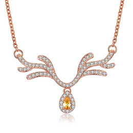 "Wholesale Wholesale Antler Necklace - Christmas Series Antlers Pendants Necklace Rose Gold Plated Morganite Crystal Cubic Zircon Fashion Jewelry Chain 18""inch GPN1208-B"