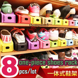 Wholesale Coned Stock - 8pcs lot Home Storage ABS cone-piece Three-dimensional shoe hanger double layer simple double-deck DIY plastic Colored shoes storage rack