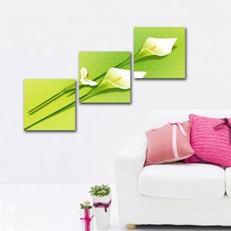 Wholesale Paintings Calla Lilies - unframed free shipping 3 Pieces picture Home decoration Canvas Prints Calla Lily rough waters dragon totem chinese characters Jade flower