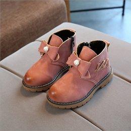 Wholesale Low Heel Shoes Wholesale - Girls Bow Boots Kids Shoes 2017 Autumn Fashion Anti Slip PU Boot Children Rome Short Boots HX-747