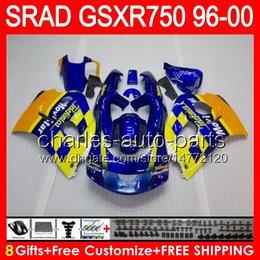 Wholesale Movistar Tops - 8gifts Movistar blue For SUZUKI GSXR750 96 97 98 99 00 GSXR-750 59NO13 GSX R750 96-00 SRAD GSXR 750 1996 1997 1998 1999 2000 TOP Fairing