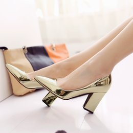 Wholesale Silver Glitter Chunky High Heels - Hot sale 2016 big size 33-43 new spring metal color patent leather pointed toes high chunky heel slip-on party women pumps dress shoes 268