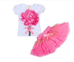 """Wholesale Chiffon Shirts For Kids - TUTU Party Dress Kids Baby Girls T Shirt &Skirt TUTU Party Dress Girls Outfits & Sets """"Rose"""" Set Veil Tong Kit Skirts For Girls"""