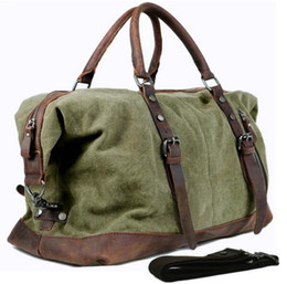 Wholesale Canvas Leather Military Bags - Vintage military Canvas Leather men travel bags Carry on Luggage bags Men Duffel bags travel tote large weekend Bag Overnight