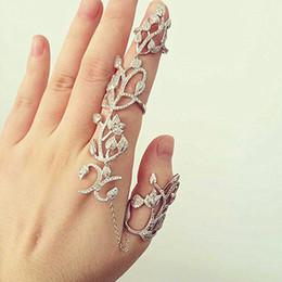 Американская броня онлайн-R058 Полые цветочные листья Полное пальца кольца для женщин Цепочка Ссылка кисточка Двойная броня кольцо Американский европейский стиль