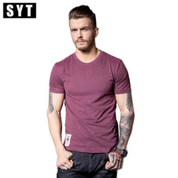 Wholesale T Shirt Yarn Wholesale - Wholesale- SYT 2017 New Print T-Shirt Mens Short Sleeve T-shirt Cotton Multi Pure Color Fancy Yarns T Shirt male V7S1T001
