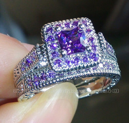 Wholesale Amethyst Engagement Rings White Gold - Wholesale - Size 5-10 Vintage Jewelry Princess cut Amethyst Simulated Diamond CZ Wedding Gemstones Engagement Bridal Rings set for Women lov