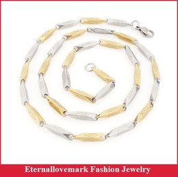 Wholesale Gold Filled Two Tone - Fashion Stainless Steel Mens Womens Chain Necklace Gold Silver Two Tone Jewelry