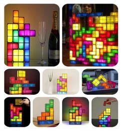 Wholesale Tetris Stackable Led Desk Lamp - New Tetris Stackable LED Desk Lamp Night Light Jigsaw Lamp Tetris Lamp Puzzle Christmas Gifts Parties Retail Package