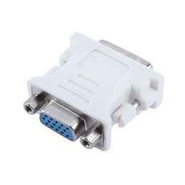 Wholesale Dvi Monitor Cable Free Shipping - DVI-I 24+5 Male to HD 15 Pin VGA Female Video Card Monitor Converter VGA Adapter Use for PC laptop White Free Shipping