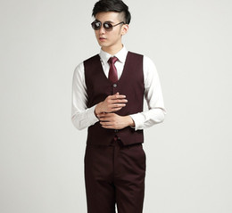Wholesale Mens Fashion Suits Silver Grey - Wholesale-Autumn Fashion Men's Office Formal Business Vests Bestman Wine Red Suit Vest Mens Wedding Suits Groom Vest Chaleco Hombre Traje