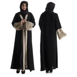cinghie di ricamo all'ingrosso Sconti Donne musulmane all'ingrosso Beadinbg nero Abaya Dress Plus Size donne islamiche ricamo Jilbab Abaya con cintura