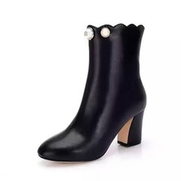 Wholesale Sexy Black Designer Heels - high quality~ u635 40 black genuine leather pearl heels short boots vogue elle fashion vintage stylish catwalk sexy g luxury designer