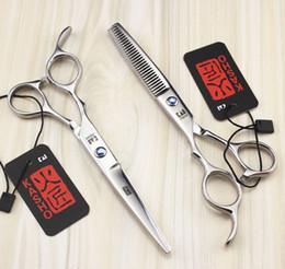 Wholesale Barber Shears Left - 723# 5.5'' Left-Hander Kasho TOP GRADE Hairdressing Scissors JP 440C Barbers Cutting Scissors Thinning Shears Hair Scissors