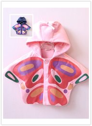 Wholesale Girl Cloak Coats - 2016 New Autumn Baby Girls butterfly print batwing-sleeved hooded Cloak Coat Chidlren single-breasted warm caputium Cute Xmas Outfits EMS