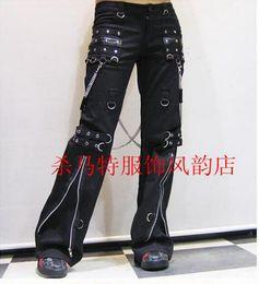 Wholesale Gothic Trend - Men fashion trend in new kill matt long dress trousers han edition gothic horn non mainstream leisure rivet punk air vent  27-33