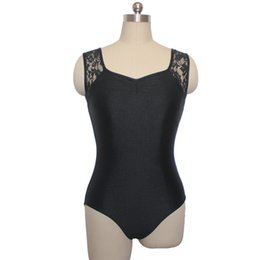 Wholesale Girls Tank Lace - In stock Black Ballet Dance Leotards Shiny Nylon Lycra Lace Tank for Girls and Ladies Training Full Sizes
