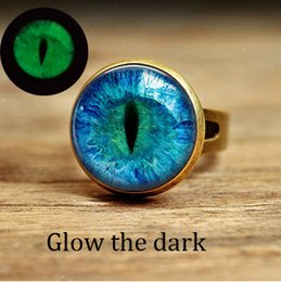Wholesale Wedding Couples Pictures - Free shipping jewelry Couple rings Cat Eye Ring Vintage glass Art Picture bronze and silver Adjustable Ring glow in the dark ring