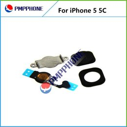 Wholesale Iphone Home Button Cap - Free Shipping White Original Home Menu Button Key Cap + Flex Cable + Bracket Holder + Spacer Set For iPhone 5 5C
