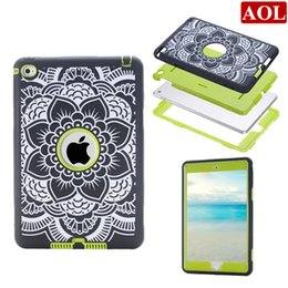 """Wholesale Shock Lasers - 4 colors Laser carving Florals Anit-shock back cover case 3 in 1 for ipad mini 4 3 2 1 7.9"""" protective cases"""