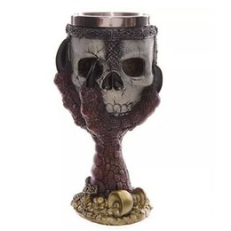 Wholesale White Goblets - Wholesale- 200ml Double Wall Ruper Awesome Retro Gothic Skeleton Arm High-foot Skull Chalice Claw Goblet Magic Antique Wine Mug