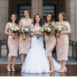 Wholesale Cocktail Dresses Short Front - Tea Length Plus Size Bridesmaid Dresses Sheath with Short Sleeve Blush Satin White Lace 2016 Cheap Women Party Cocktail Gowns Wedding Guest