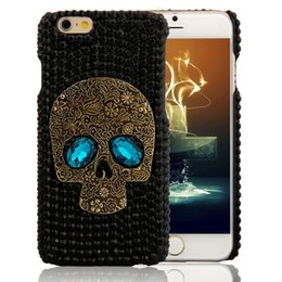 Wholesale Handmade Galaxy Phone Cases - Handmade Diamond Metal saphire eye Skull back Cover phone case for Iphone 5 5s 6 6 plus for Samsung galaxy S6 S6 edge