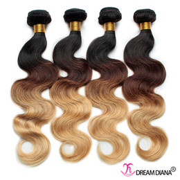 thick brazilian virgin hair Promo Codes - Ombre Human Hair Weaves Body Wave 4 Bundles Three Tone 1B 4 27# Brazilian Virgin Hair Ombre Hair Extensions Thick Bundles
