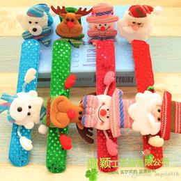 Wholesale Deer Bear - 2017 Christmas Ornament Christmas slap bracelet bangle Xmas pat circle hand ring Santa Claus snowman bear deer bracelet Christmas gift E1677