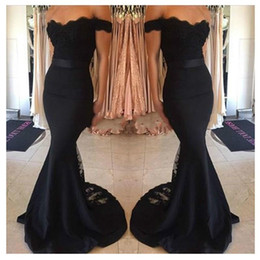 Wholesale Junior Halter Party Dresses - Elegant Black Mermaid Evening Dress Wear 2016 Cap Sleeves Lace Train Prom Formal Prom Party Dresses Cheap Junior Maid Of Honor Gowns