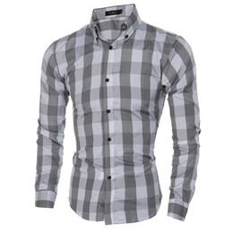 e7311ab68 Estilo británico Estilo clásico grande Diseño de tela escocesa Cuello hacia  abajo Camisa de negocios para hombres Camisa slim fit Casual Camisa de manga  ...