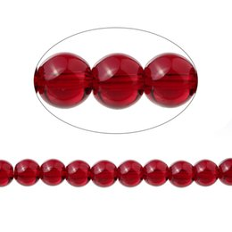 """Wholesale Garnet 6mm - Garnet(Imitation)Loose Beads Round Red Transparent About 6mm Dia,37cm(14 5 8"""")long,1 Strand(Approx 67 PCs Strand) 2016 new"""