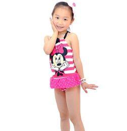 Wholesale Girl S Minnie - Wholesale-Free shipping! 2016 branded new minnie Mouse Bikini swimwear printing swimsuit girls one pieces bikinis set