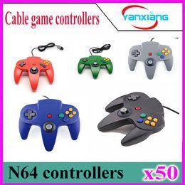 Wholesale N64 Gamepad - 50pcs OP-Hot Long Handle Game Controller Joystick Gamepad Red For Nintendo 64 N64 System YX-N64-01