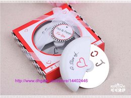 Wholesale Pizza Cutter Slice Love - 50pcs A Slice of Love Pizza Cutter knife in Miniature Pizza Box Favors Decoration Wedding Favor Gifts DHL Fedex Free shipping
