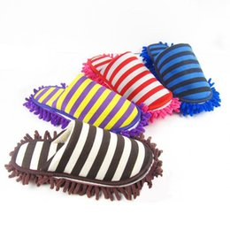 Wholesale Dust Mop Cleaning - New Arrival House Bathroom Floor Cleaning Mop Dust Cleaner Slippers Detachable Floor Wipe Striped Chenille Lazy Shoes Cover JG0043