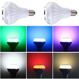 Wholesale Bulb Rgb Rc - Wholesale- E27 Bulb RC Colorful LED Lamp Bluetooth Speaker Portable RGB LED Light Bulb Music Lights with remote control