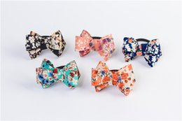 Wholesale Wholesale Elastic For Hair Ties - Girls Hair Accessories Hair Tie Rope Bow Floral Cloth For Children's Baby Girl Hairbands With Bow Shape Elastic Ribbon for Women HA14B