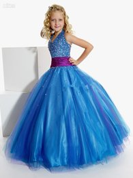 Wholesale Affordable Black Ball Gowns - Affordable Halter Beadings Tulle Ball Gowns Junior Pageant Dress Blue Little Girls Party Gowns 13260