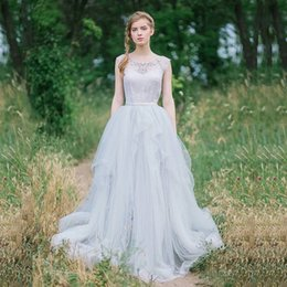 Wholesale Abito Sposa Vintage - Vintage A-Line Wedding Dresses Beaded Lace Tulle Long Bridal Dresses With Train Abito Sposa Boho Beach Bride Dress 2016 Robe De Mariage