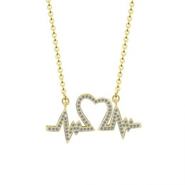 Wholesale Tattoo Pendant Gold - Wholesale 10Pcs lot 2017 Body Jewelry Pendant CZ Powerful Double Heartbeat Heart Tattoo Choker Gold Chains Crystal Necklaces For Women