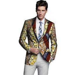 Wholesale Blazer Mens Clothing - Wholesale- Limited men dashiki suit thin african print blazer custom mens african suit africa clothing for wedding