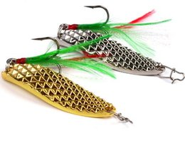 Wholesale Silver Lures - 2017 1pc Spoon Lure 20g-15g-10g-5g Metal Fishing Bait Silver Gold Spoon Bass Baits Feather Hook Fishing Tackle