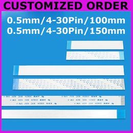 Wholesale Ffc Cable Pin - Wholesale-CUSTOMIZED ORDER : Flat Flex ribbon FFC cable 4 - 30 pin 100mm 150mm long pitch 0.5mm AWM 20624,80C 60V VW-1