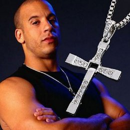 Wholesale Wholesale Fast Furious - Crystal Cross Pendant The Fast and Furious Vintage Necklace Silver Golden Color Statement Pendant Men Fashion Jewelry Christmas Gifts