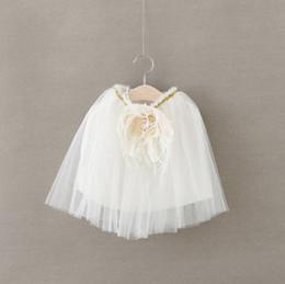 Wholesale White Blouses For Girls - Flower tutu baby's skirts 2016 New Girls White Skirt Summer Tulle Kids Skirt Korean Fshion Tutus for Girls Skirts Children Clothes 6201