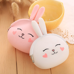 Wholesale Cute Mini Wallets Keys - Cartoon silicone purse Korean cute bunny coin purse candy colors bag lady packet key cases Wallets Holders 586