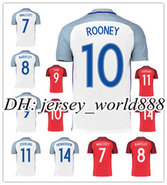 Wholesale England Home Jersey - Top Thai quality 2016 Europe cup soccer Jersey england ROONEY home white KANE STURRIDGE STERLING HENDERSON VARDY 16 17 away football shirt