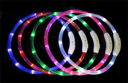 ladegeräte schneiden Rabatt 20 stücke Cut USB Lade Hundehalsband LED Outdoor Luminous ladegerät Haustier Hundehalsbänder licht Einstellbar 7 farben LED blinkt hundehalsband A012