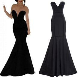 Wholesale Simple Black Cocktail Dress Designs - Fashion Black Mermaid Long Prom Party Dresses Formal Evening Wear Cheap Price 2016 New Design Real Image Graduation Gowns V Neck Sleeveless
